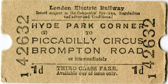 Brompton Road underground ticket