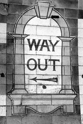 A Way Out sign at Brompton Road Station photo taken in 1997